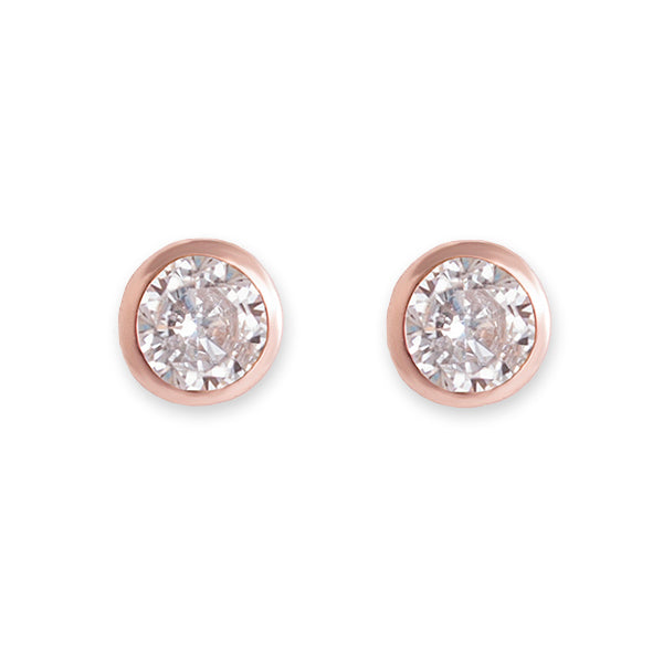 BIANC Rose Gold CZ Bezel Stud Earrings