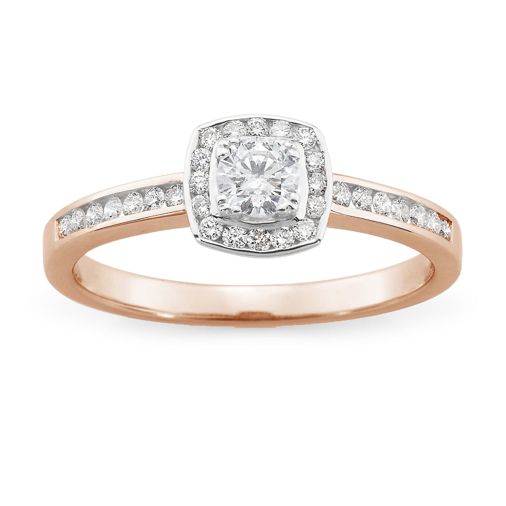 9ct Rose Gold Diamond Claw/Channel Set Halo Engagement Ring