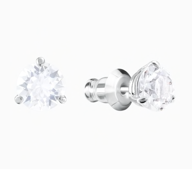 SWAROVSKI Solitaire Pierced Earrings, White, Rhodium Plated