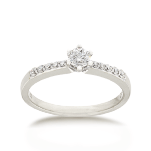 18ct Brilliant-cut 0.37ct TDW Diamond Shoulder Solitaire