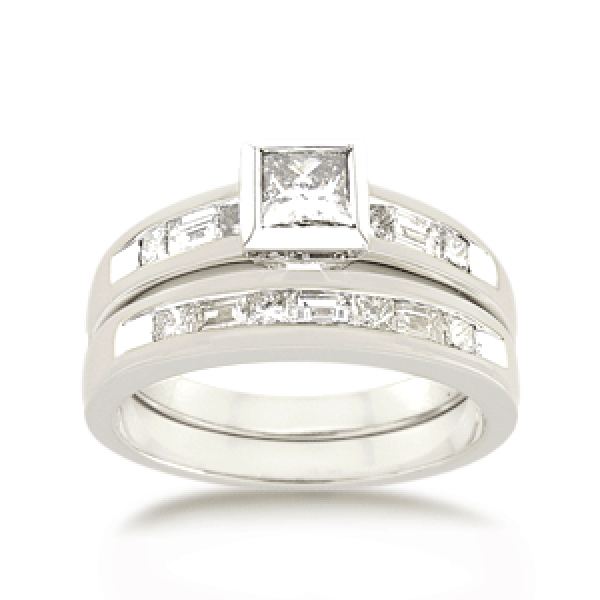 18ct Princess-cut 1.0ct TDW Diamond Bridal Set