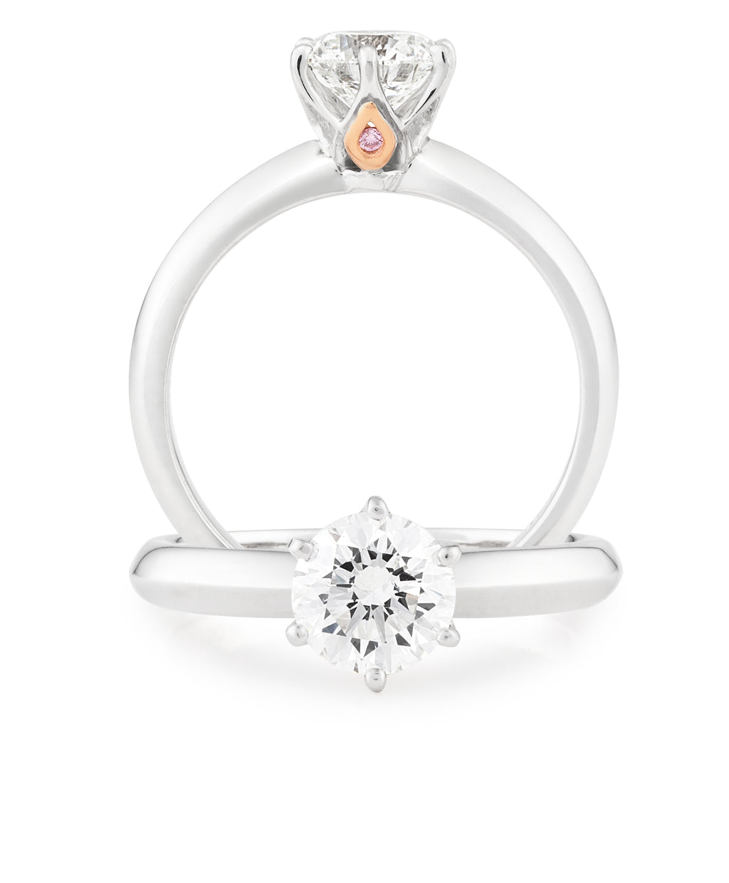 18ct White Gold Diamond Claw Set Engagement Ring, Pink Caviar
