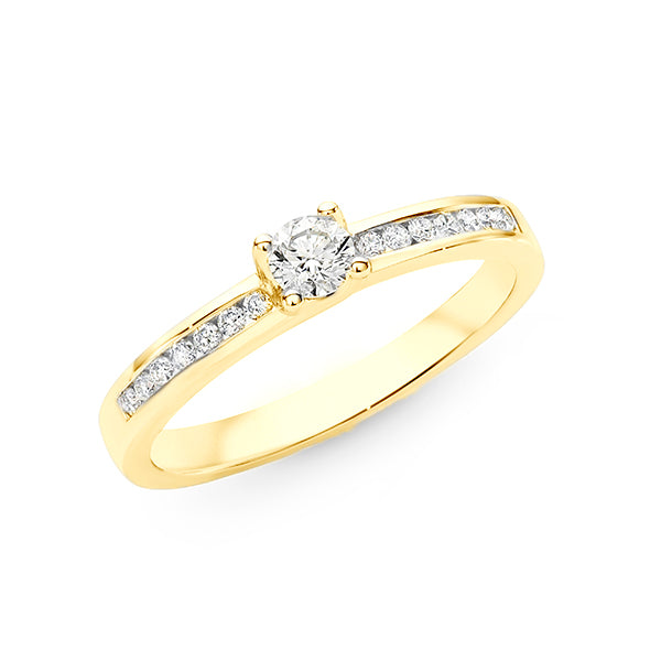 9ct Gold Diamond Claw/Channel Set Shoulder Stone Engagement Ring