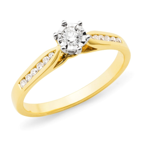 9ct Gold Diamond Illusion Shoulder Stone Engagement Ring
