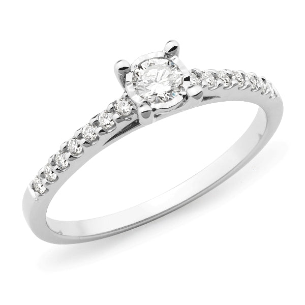 9ct White Gold Diamond Illusion Shoulder Stone Engagement Ring