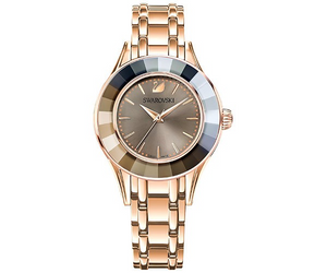 SWAROVSKI Alegria Watch, Metal bracelet, Mother of Pearl, Grey, Rose-gold tone plated