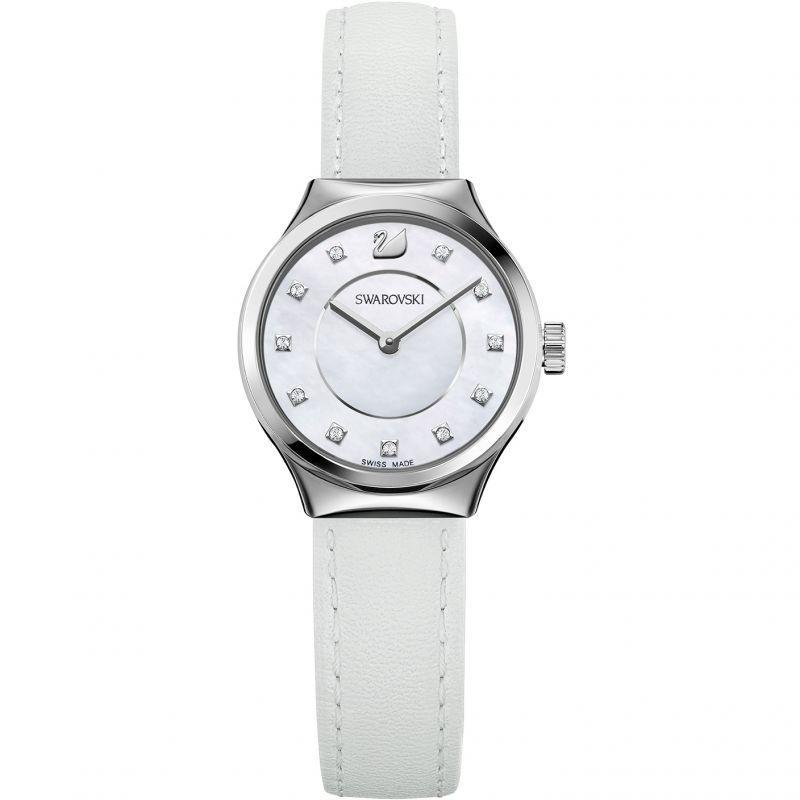 SWAROVSKI Dreamy Watch, Leather strap, White, Stainless steel