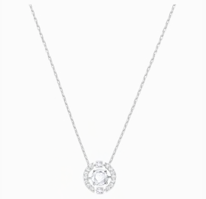 SWAROVSKI Sparkling Dance Round Necklace, White, Rhodium plated