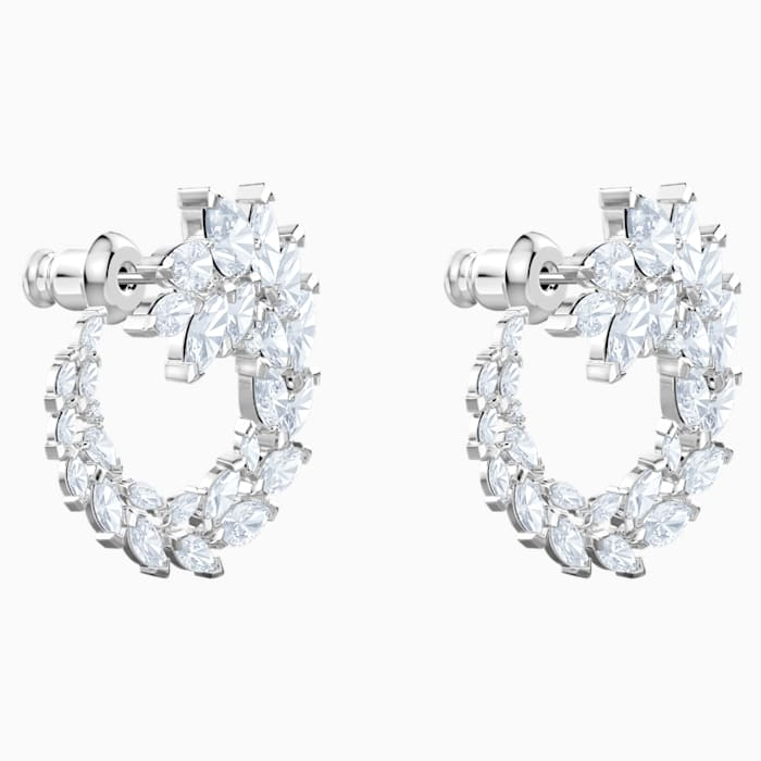 SWAROVSKI Louison Pierced Earrings, White, Rhodium plated