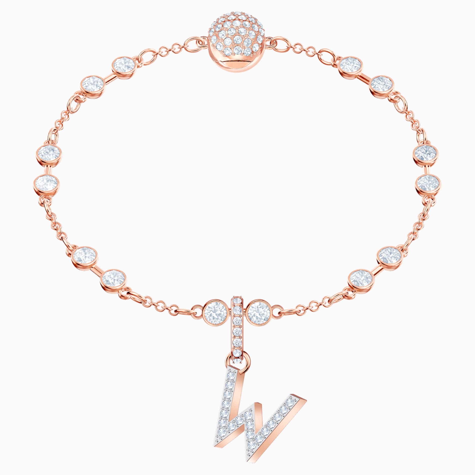 SWAROVSKI Remix Collection Charm W, White, Rose-gold tone plated