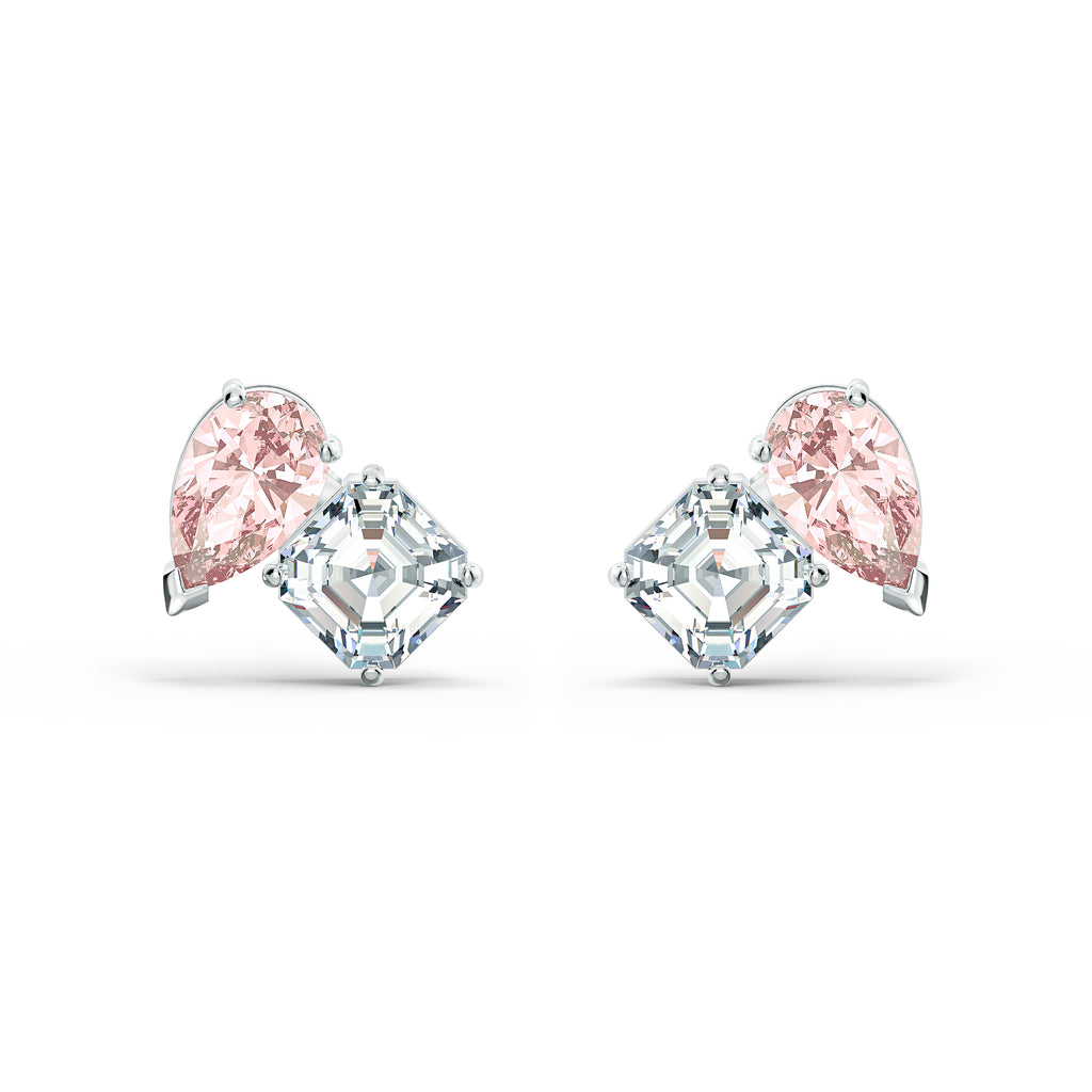 SWAROVSKI Attract Soul Pierced Earrings, Pink, Rhodium plated