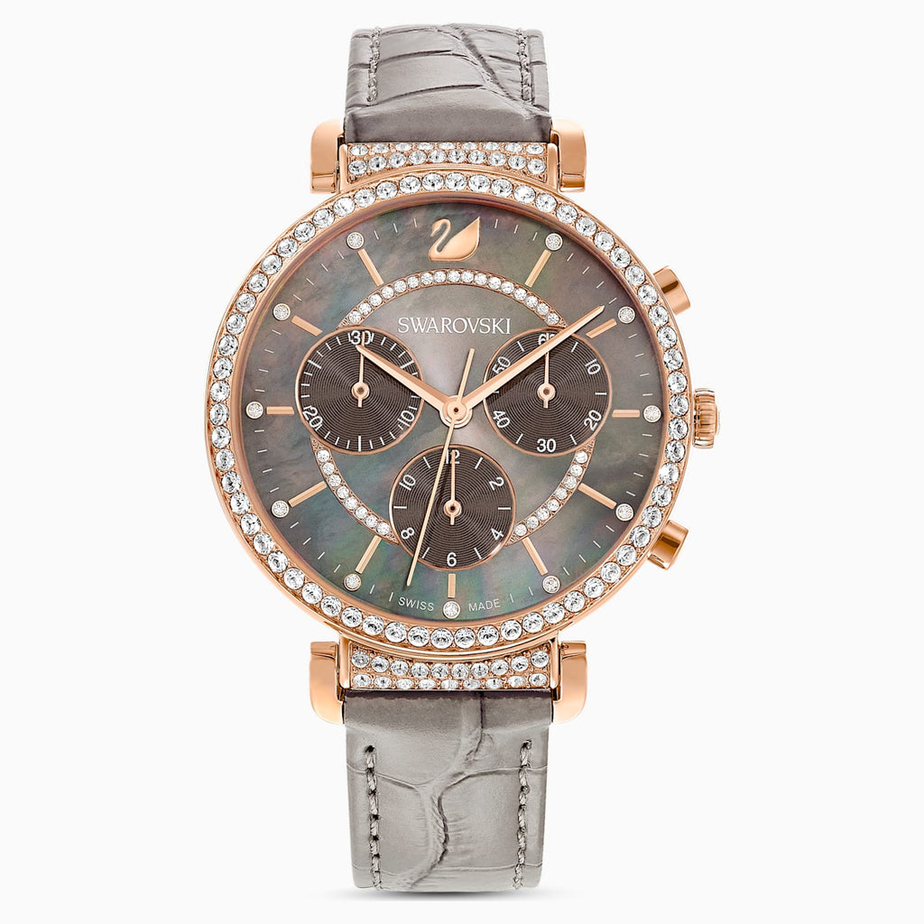 SWAROVSKI Passage Chrono Watch, Leather Strap, Grey, Rose gold tone plated