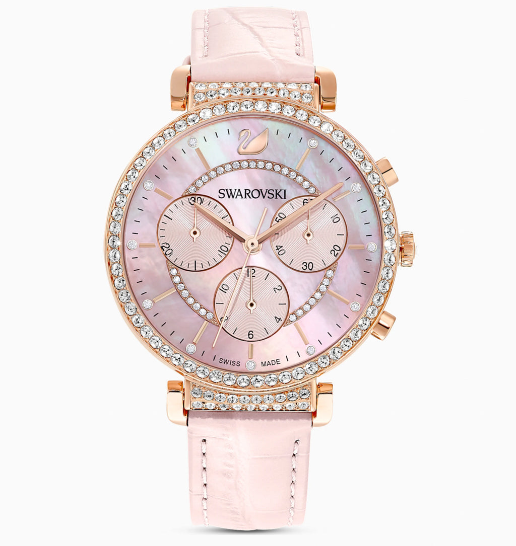SWAROVSKI Passage Chrono Watch, Leather Strap, Pink, Rose gold tone plated