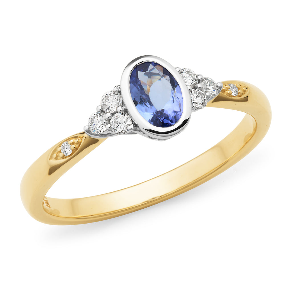 9ct Gold Tanzanite & Diamond Dress Ring