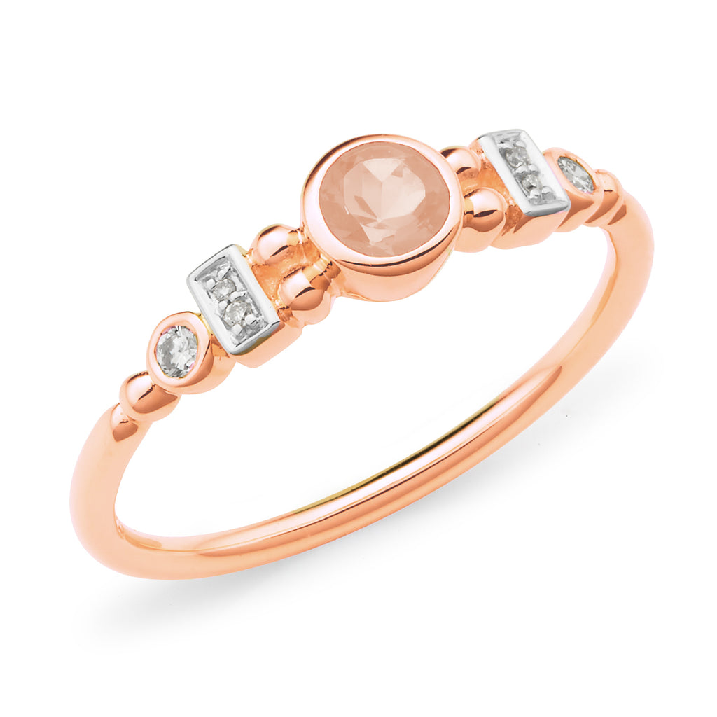 9ct Rose Gold Bezel/Bead Set Morganite & Diamond Dress Ring