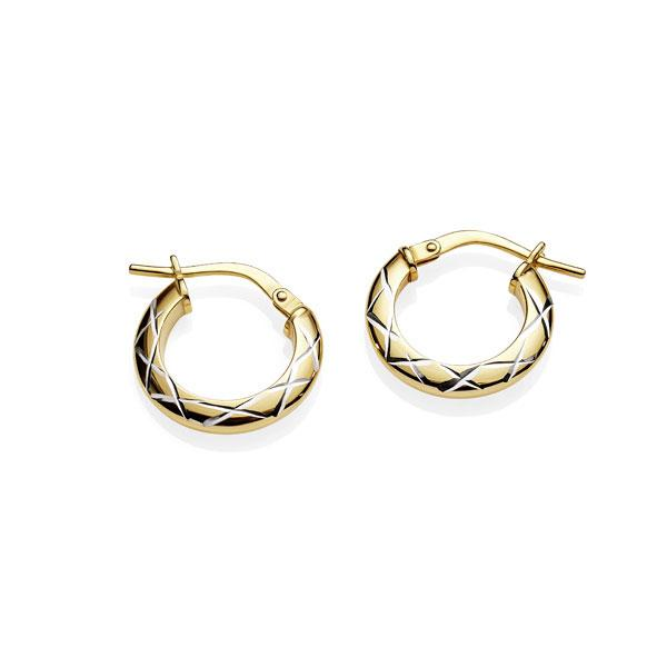 9 Carat Yellow Gold Bonded Silver Hoops