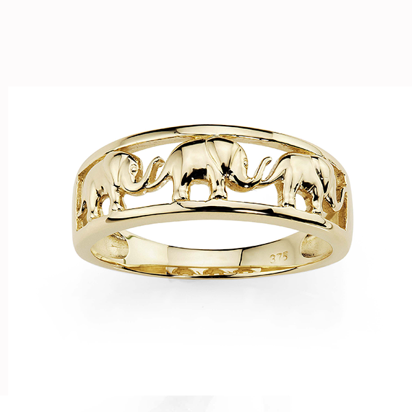 9ct Elephant Ring