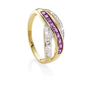 9ct Gold Amethyst and Diamond Ring