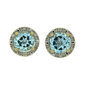 9ct Gold Blue Topaz and Diamond Earrings
