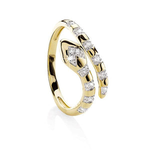 9ct Gold Diamond Snake Ring