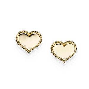 9ct Gold Millgrain Border Heart Stud Earrings