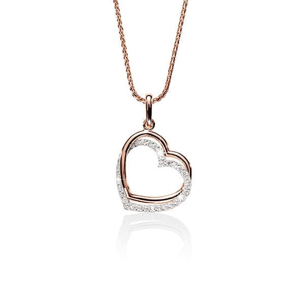 9ct Rose and White Gold Double Heart Cubic Zirconia Pendant