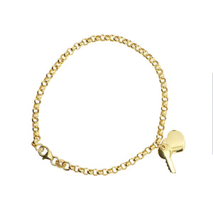 9ct YG 19cm belcher with polished key to my heart charm bracelet