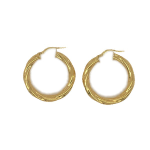 9ct YG gold-bonded 20mm twist hoop earrings