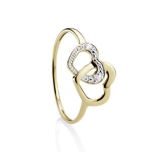 9ct Yellow Gold and Diamonds - Heart design ring