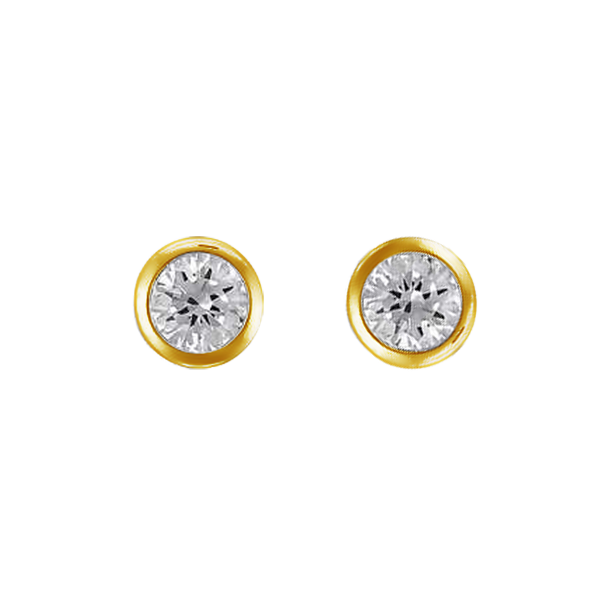 9ct bezel set 3mm cubic zirconia earrings
