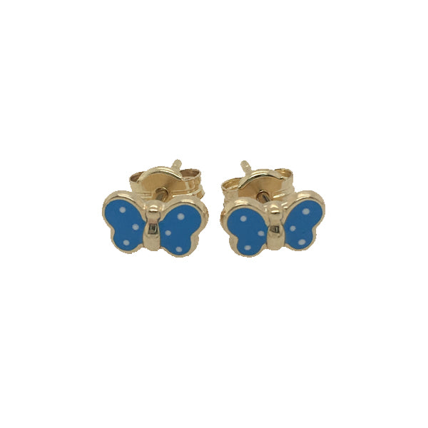 9ct blue enamel butterfly stud earrings