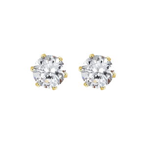 9ct claw-set 3.5mm round  cubic zirconia earrings