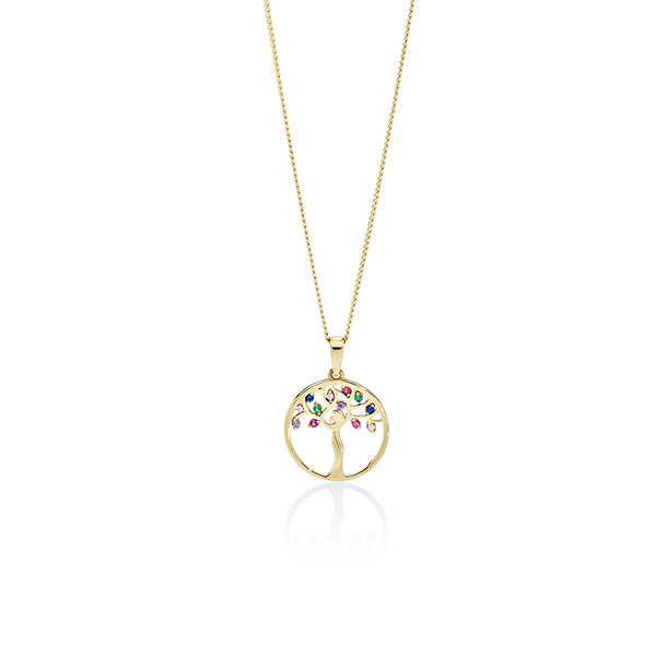 9ct gold Multi Color CZ Circle Pendant
