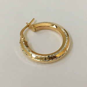 9ct gold bonded 20mm hexagonal tube with fine dia cut on 4 edges hoop earrings (10% 9ct)
