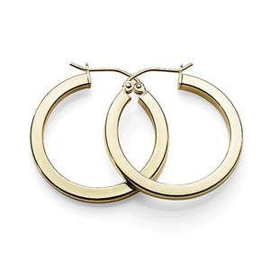 9ct gold-bonded silver 20mm polished hoops