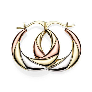 9 Carat gold-bonded silver 3-tone tapered hoops