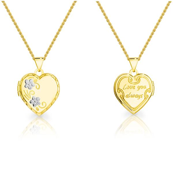 9ct gold-bonded silver  'I love you' locket