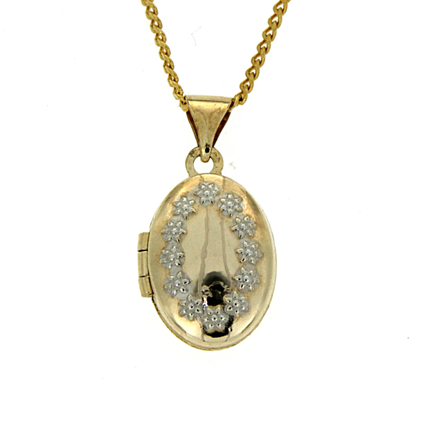 9ct gold-bonded silver oval locket