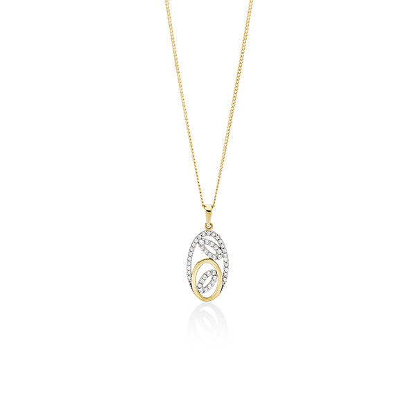 9ct gold cubic zirconia oval pendant