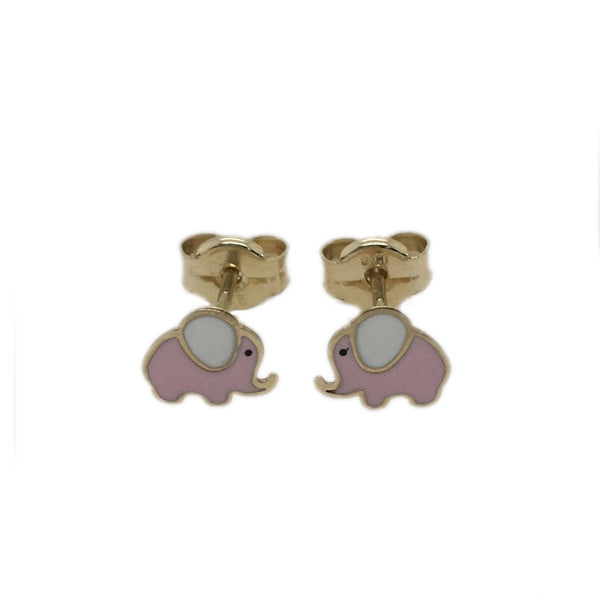 9ct pink & white enamel elephant stud earrings