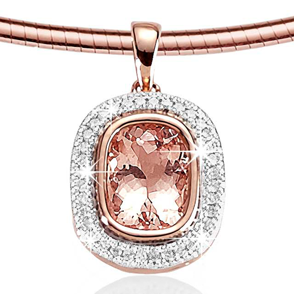 9ct rose gold morganite and diamond halo pendant