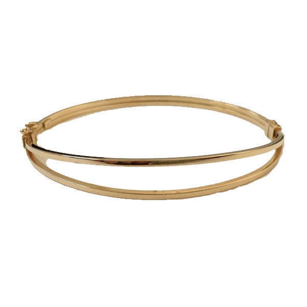 9ct split square tube hinged bangle