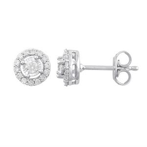 9ct white gold 0.25ct diamond halo earrings