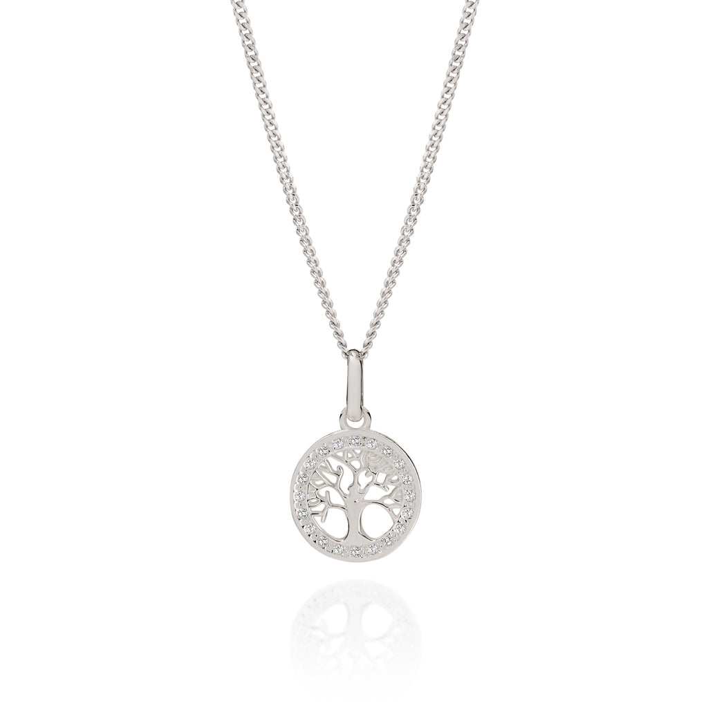 Silver stone set tree of life pendant
