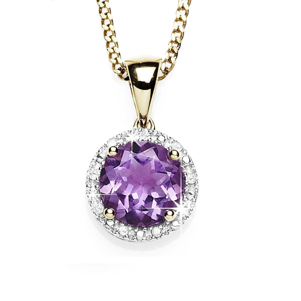9ct gold amethyst & diamond pendant