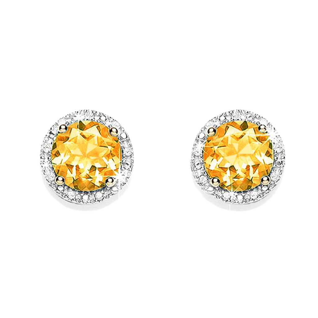 9ct gold citrine & diamond studs