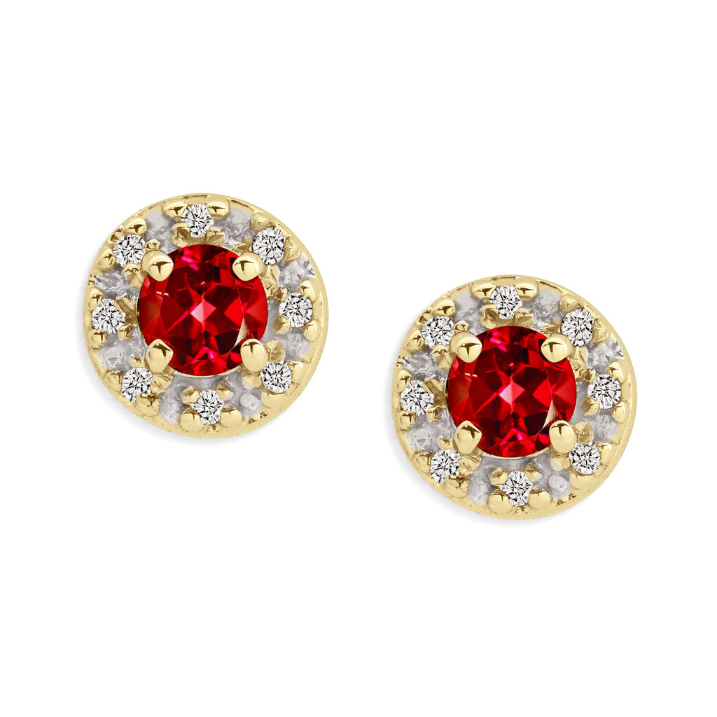 9ct gold ruby & diamond halo studs