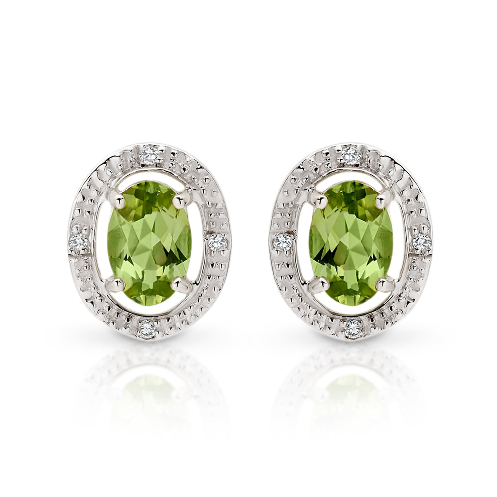 9ct gold peridot & diamond studs
