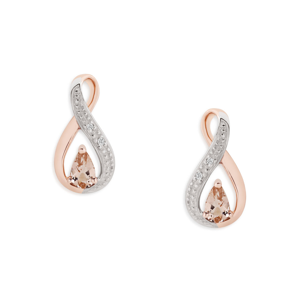 9ct rose gold morganite & diamond studs