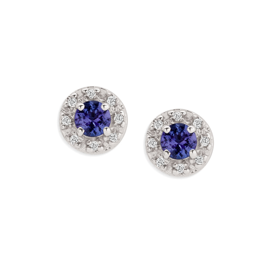 9ct white gold tanzanite & diamond studs